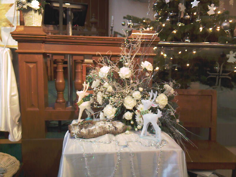 White Carnations, Reindeer and Bird