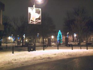 Northumberland Square lit up at night