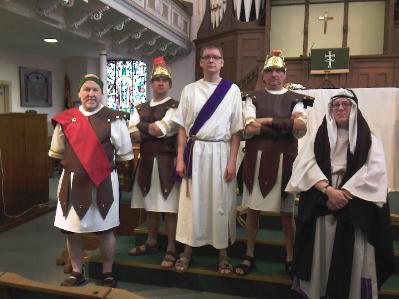 Pilate, Jesus, Caiaphas and two Roman guards