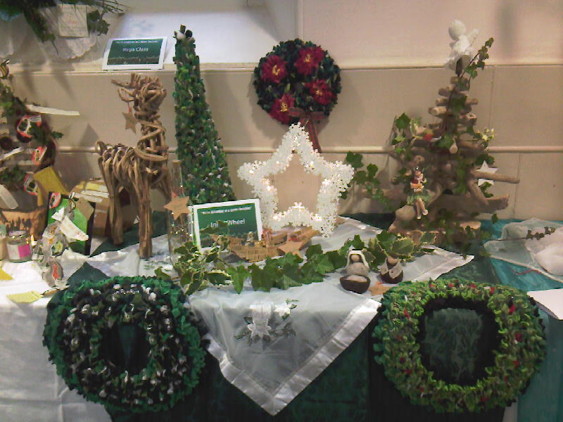 Christmas display using recycled fabric