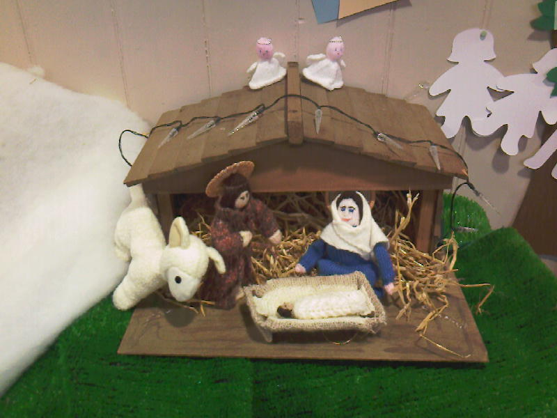 Nativity with knitted characters