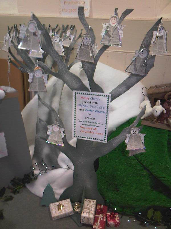 Christmas tree made from recycled materials