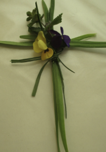 palm cross with flowers