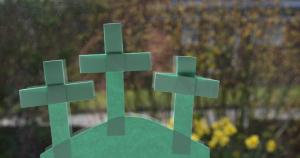 paper crosses in window